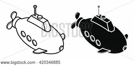 Submarine Icon Isolated On White Background. Children Toys And Entertainment. Underwater Research. V