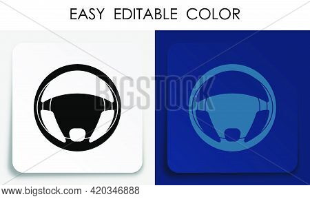 Steering Car Wheel Icon On Paper Square Sticker With Shadow. Car Steering Repair And Balancing In Se