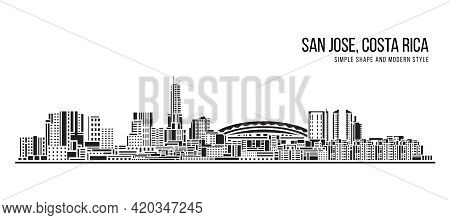 Cityscape Building Abstract Simple Shape And Modern Style Art Vector Design -  San Jose, Costa Rica