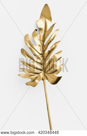 Philodendron xanadu leaf painted in gold on an off white background