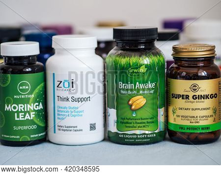 Moscow, Russia - March 09, 2021: Different Bottles With Dietary Supplements For Memory And Cognitive