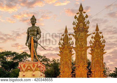 Chiang Rai, Thailand : 26-12-2019 : King Mangrai Monument In The Downtown Of Chiang Rai City. King M