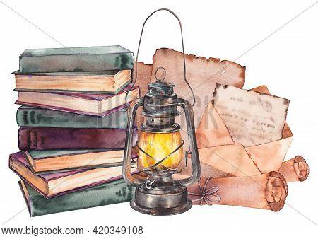 Retro Books, Papers, Envelopes And Lantern Arrangement.