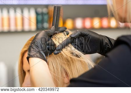 Hairdresser Combing Clients Female Hair Before Dyeing Hair In A Hair Salon