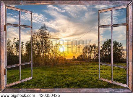 Open Window Overlooking A Rural Landscape In Summer