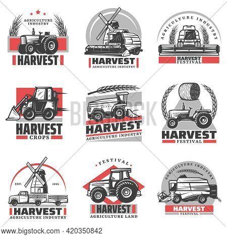 Vintage Harvesting Emblems Set With Inscriptions Tractors Combine Harvester Loader Truck Hay Bale Wh