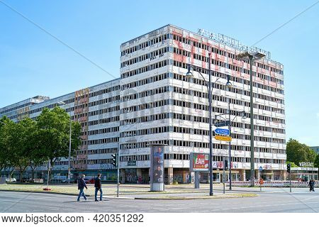 Berlin, Germany - May 31, 2020: Vacant Office Building At A Street Crossing At Karl-marx-allee In Th