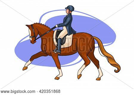Horse Riding Woman Riding Dressage Horse In Cartoon Style