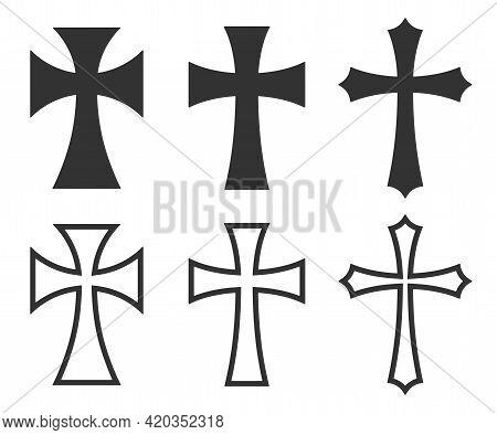 Cross Vector Shape Symbol. Christianity Sign. Christian Religion Icon. Catholic And Protestant Faith
