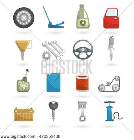 Auto Service Car Repair Automobile Parts Icons Flat Set Isolated Vector Illustration