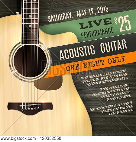 Indie Musician Concert Show Poster With Acoustic Guitar Vector Illustration