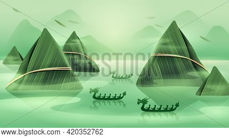 Dragon Boat Festival with rice dumpling mountain and dragon boat on oriental tranquil scene.