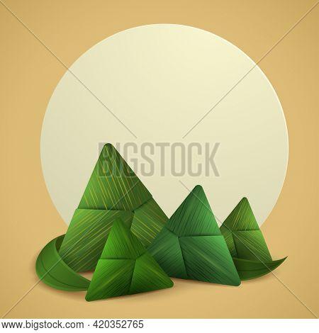 Dragon Boat Festival paper graphic origami rice dumpling on plain background.