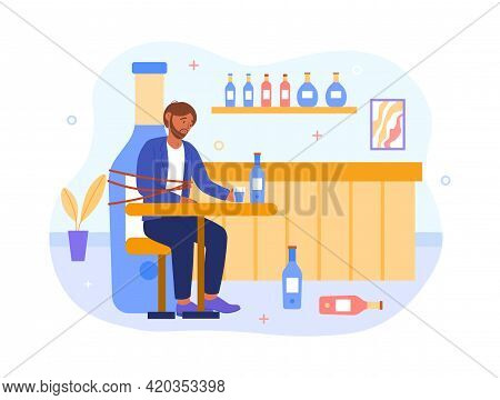Human Have Pernicious Habits Addictions, Substance Abuse And Chained Tied To Drink Bottle. Flat Abst