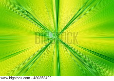 Abstract Radial Zoom Blur Surface   Green And Yellow Tones. Abstract Juicy Green Background With Rad