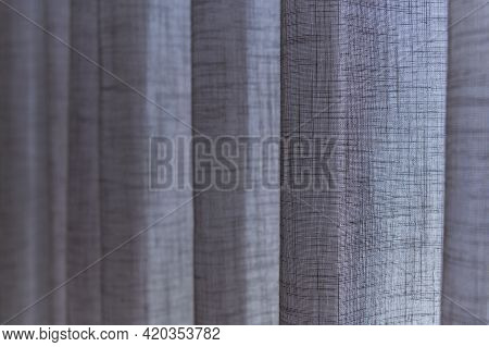 Closed Up Grey Sheer Curtains. Transparent Curtain In Cozy Room Home, Interior Design Concept