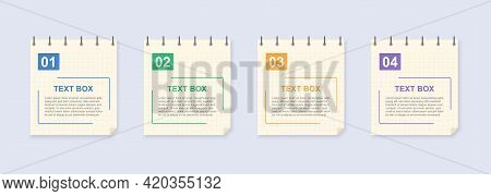 Realistic Lined Sticky Notes With Clip Binder. Blank Note Paper Sheets. Information Reminder. Text B