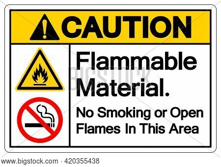 Caution Flammable Material No Smoking Or Open Flames In This Area Symbol Sign, Vector Illustration,