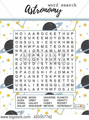 Astronomy Word Search Puzzle. Educational Game For Lerning English Words. Space Theme. Printable Vec