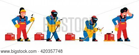 A Set Of Welders In Different Poses. Welding, Workers, Men, Equipment, Fire, Sparks, Mask, Safety. V