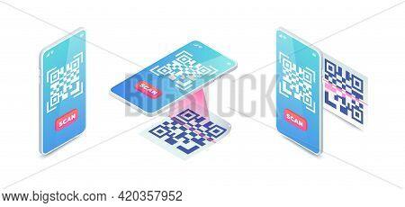 Scan Qr Code Via Smartphone Set. 3d Mobile Scanning Barcode Concept, Qr Verification Isometric Vecto