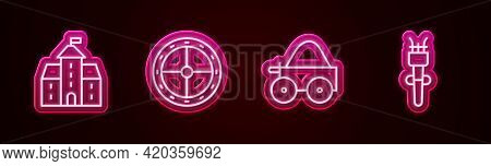Set Line Castle, Fortress, Round Wooden Shield, Wooden Four-wheel Cart And Torch Flame. Glowing Neon