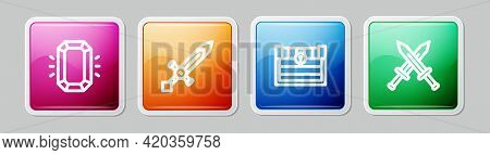 Set Line Diamond, Medieval Sword, Antique Treasure Chest And Crossed Medieval. Colorful Square Butto