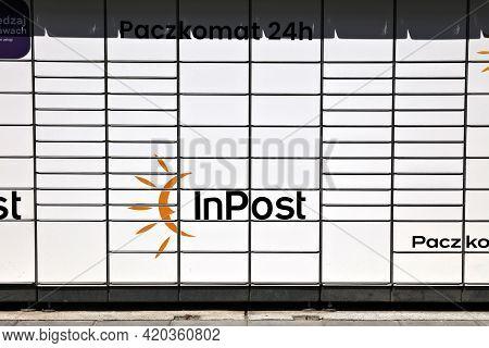 Kedzierzyn-kozle, Poland - May 11, 2021: Parcel Locker Machine Paczkomat In Poland. Paczkomat Machin