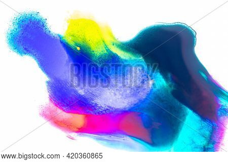 Watercolour Texture. Abstract Colourful Watercolor Paint Pattern Isolated On White Water Background.