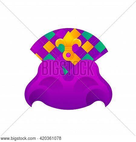 Isolated Flag Hat Mardi Grass Venice Festival Icon- Vector