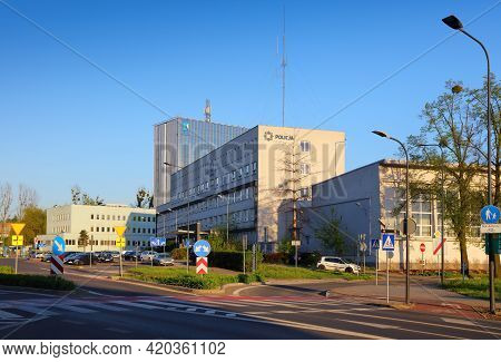 Rybnik, Poland - May 11, 2021: City View With Police Station In Rybnik, Poland. Rybnik Is An Importa