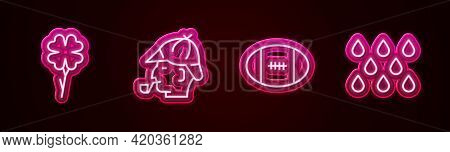 Set Line Four Leaf Clover, Sherlock Holmes, Rugby Ball And Water Drop. Glowing Neon Icon. Vector