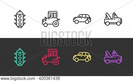 Set Line Traffic Light, Tractor, Hatchback Car And Tow Truck On Black And White. Vector