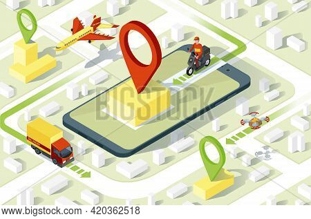Delivery App Isometric Website Template. Online Order Tracker Application. Courier, Truck, Aircraft
