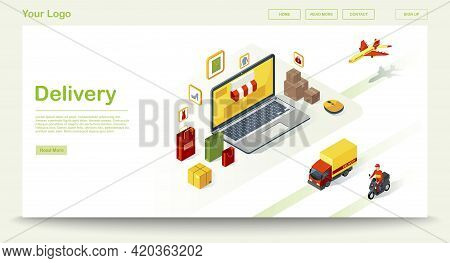 Delivery Web Page Vector Template With Isometric Illustration. Freight And Cargo Shipment. Website I