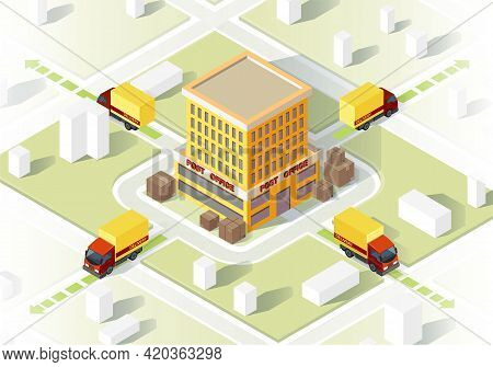 Delivery Service Isometric Vector Illustration. Parcel Transportation Map. Cargo And Freight Shipmen