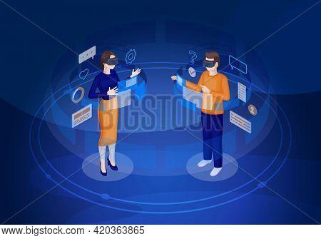 Virtual Reality Players Isometric Vector Illustration. Vr Ui And Navigation. Futuristic Digital Tech