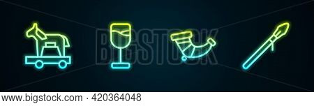 Set Line Trojan Horse, Wine Glass, Hunting Horn And Medieval Spear. Glowing Neon Icon. Vector