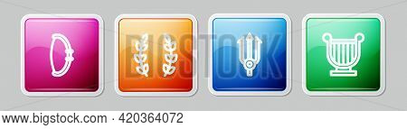 Set Line Medieval Bow, Laurel Wreath, Neptune Trident And Ancient Lyre. Colorful Square Button. Vect