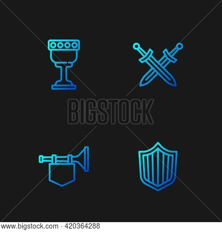 Set Line Shield, Trumpet With Flag, Medieval Goblet And Crossed Medieval Sword. Gradient Color Icons