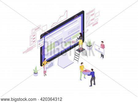 Website Builder Isometric Vector Illustration. Web Design And Development. Webpage Construction 3d C
