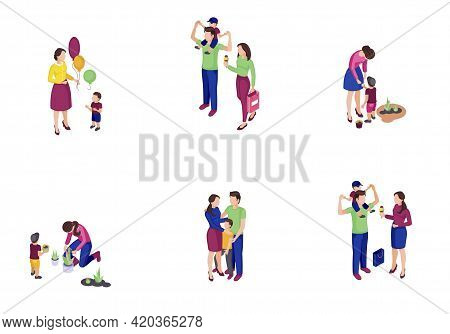 Family Time Isometric Color Vector Illustrations Set. Parents With Kids Doing Shopping, Gardening. F