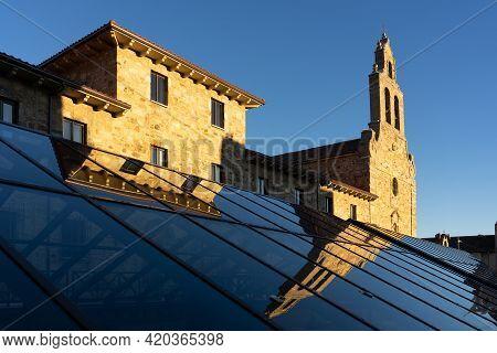 Perpetuo Socorro De Los Redentoristas Church Reflected In A Glass At Sunset, León, Castilla Y Leon,