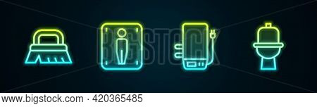 Set Line Brush For Cleaning, Male Toilet, Electric Boiler And Toilet Bowl. Glowing Neon Icon. Vector