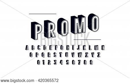 Stock Vector Bulk Sans Serif Font In Retro Style. Letters And Numbers For Emblem, Logo And Title Des