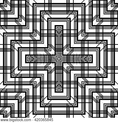 Design Seamless Decorative Lacy Pattern. Abstract Cross Monochrome Background. Vector Art