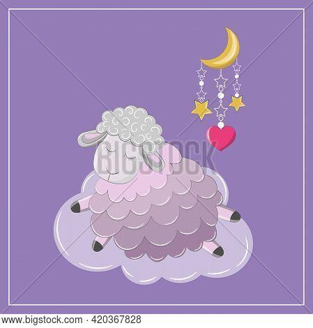 Sleeping сute Sheep On The Cloud.isolated  Vector Cartoon Lamb, Moon, Stars And Heart.