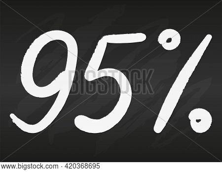 95 Ninety Five Percent Sign On Black Chalkboard Simple Flat Vector Illustration