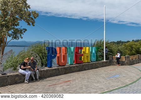 Puyehue Letters Monument On The Banks Of Rupanco Lake, Chile