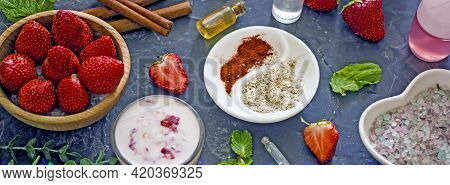 Ingredients Homemade Strawberry Face Mask, Cream, Strawberry, Oatmeal, Spices, Herbs On A Dark Backg